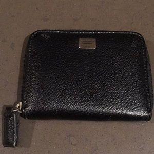 Armani black zip around wallet